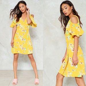 Yellow Floral Cold Shoulder Wrap Dress- Size US10